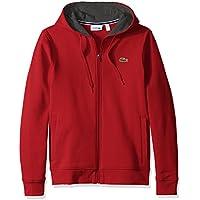 Lacoste Mens Sport Long Sleeve Fleece Full Zip Hoodie Sweatshirt (Red / Pitch)
