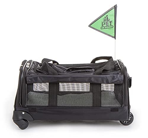 Sherpa Ultimate On Wheels Airline Approved Pet Carrier, Soft Liner, Mesh Windows, Spring Frame, Black, Large