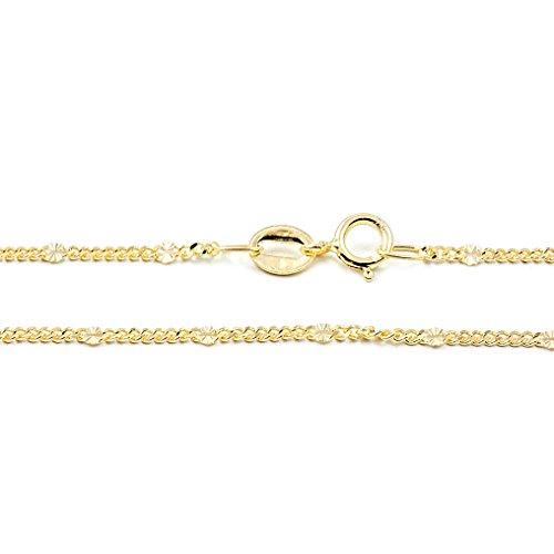 Cadena Oro Amarillo entrepiezas Diamantadas