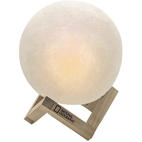 National Geographic Nachttischlampe Mond Lampe mit einstellbarer Farbtemperatur mit integriertem Akku und Holz-Standfuß