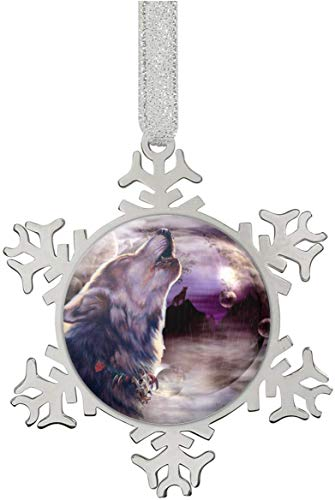 Wolf Howling at The Moon Snowflake Ornaments Personalized Christmas Tree Decoration Stainless Steel Home Decoration Hanging Pendants
