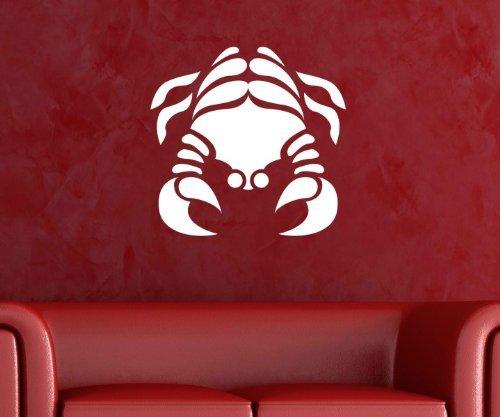 Wandtattoo Sternzeichen Krebs Sternbild Sticker Tattoo Wandbild Aufkleber 5Q463, Farbe:Silbergrau glanz;Hohe:14cm