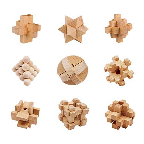 BOROK 9 St. Holz Knobelspiele IQ Spiele Set 3D Puzzle Geduldspiele Denkspiel Logikspiele Rätsel Brainteaser als Adventskalender Füllung Inhalt für Kinder und Erwachsene