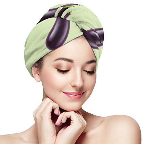 NiYoung Women Girls Purple Eggplant Pattern Hair Drying Towel Ultra Absorbent Fast Drying Dry Hair Hat Anti-Frizz Bath Shower Hair Turban for Curly Long Thick Hair