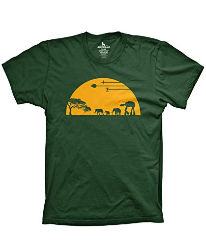 Guerrilla Tees at-at Movie Shirts Funny Tshirts Graphic Space tee, Forest Green, 2X-Large