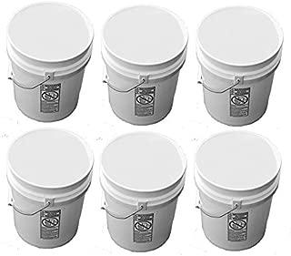 5 Gallon White Buckets Six (6) Pack,| Plastic