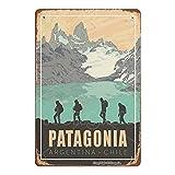Patagonia Argentina Cartel de chapa retro de Metal Vintage, cartel de decoración de pared artística, Bar, cafetería, hombre, cueva, hogar, 8 × 12 pulgadas