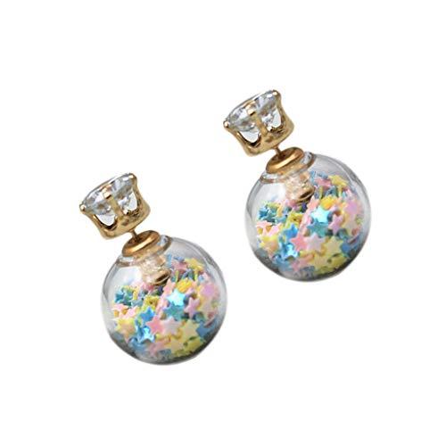 Qinghengyong 1 par Nuevas Mujeres del diseño Pendientes del Estilo del Verano Pendiente de la Bola de Cristal Flores cristalinos del Perno Prisionero de la Muchacha Lateral Doble Perla