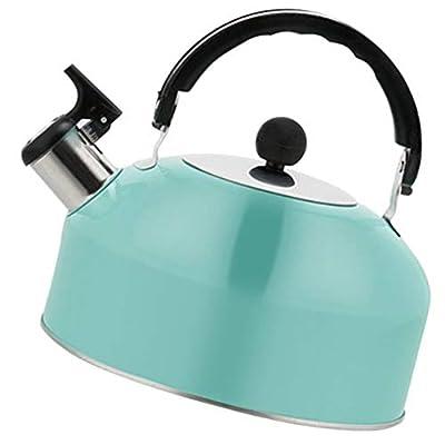 Cabilock Stainless Steel Tea Kettle Flat Bottom Stovetop Whistling Teakettle Teapot with Ergonomic Handle Blue 1.8L