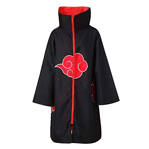 Partyever Unisex Akatsuki Organization Members Cosplay Cloak Halloween Cosplay Costume Uniform Ninja Robe with Headband (Large, Stand Collar Cloak)