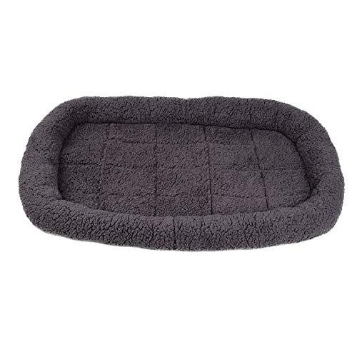 Soft Padded Fleece Pet Bed Dog Bed Cushion Rectangle Fleece Dog Bed Ideal For Dog Crates (35'' / 89 CM, Grey)