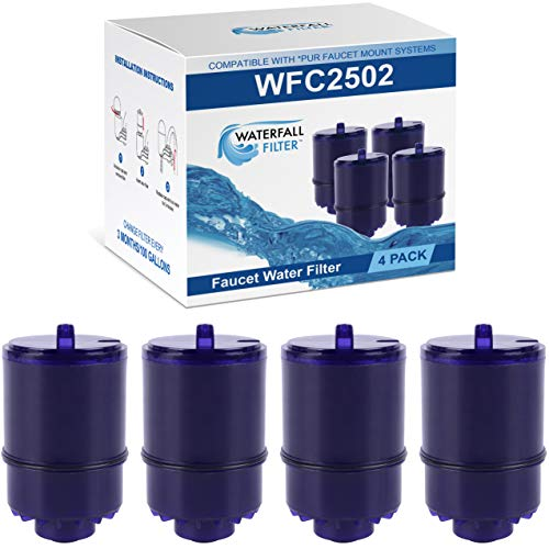 Waterfall Filter - 4 Pack of Faucet Water Filter Replacement for PUR RF9999. Compatible with PUR Classic, Advanced and Horizontal Faucet Mounts   Coconut Activated Carbon Removes Chlorine, Bad Taste