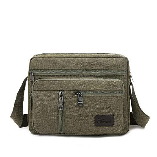 BeniBolso casual del bolso del paño del multicompartimento de la lona de los hombres del bolso de mensajero-Ejercito verde