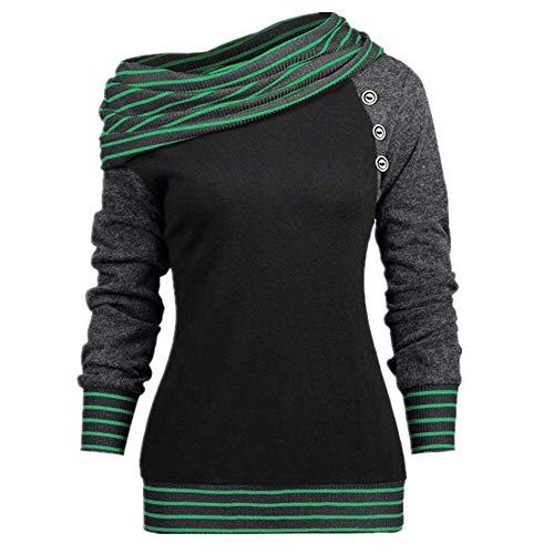 Sudadera con capucha para mujer con cuello de manga larga y botones a rayas para deportes, casual, suelto, para mujer, con capucha Super Dalian