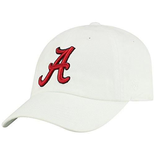 Top of the World NCAA Mens College Town Crew Adjustable Cotton Crew Hat Cap (Alabama Crimson Tide-White, Adjustable)