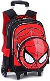 Backpack de la Carretilla - Spiderman 3D Impresa de la Escuela Primaria de la Escuela Primaria Bolsa de Libro enrollada Primaria para niños Mochila - GIF Jialele (Color : Black, Size : 2Wheels)