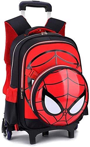 YYhkeby Sac à Dos de Chariot - Spiderman 3D IMPECTEMENT ÉLÉMENT ÉLÉMENTS Enfants Sac Rolling Sac DE ROULES PRIMAIRES pour Les GARÇONS Rucksack - GIF Jialele (Color : Black, Size : 2Wheels)