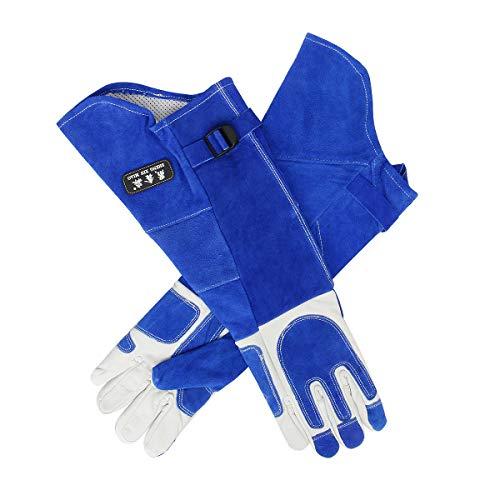 Funhoo Handschuhe aus Rindsleder Arbeitshandschuhe Anti-Kratzer Hitzebeständige Schutzhandschuhe für Gartenarbeit 55 cm extra lang - Blau (M)