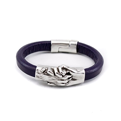Silver Plated Hand and Dog Paw Symbol Bracelet, Genuine Leather Bracelet for Women and Men, Magnetic Clasp, Ideal for Pet Lovers and Pet Memorial, Thick Dyed Leather, Eggplant Color, Extra Large