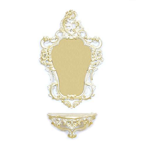Idee Casa Set Consoleplank + Barok Afgewerkt Wit en Goud Spiegel Vintage Venetiaanse Stijl