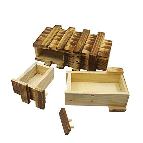 Caja de Rompecabezas, Lre Co. Caja de Regalo de Madera Mágica con 2 Compartimentos Secretos, Caja de Regalo Misteriosa para Regalos de Boda o Cumpleaños