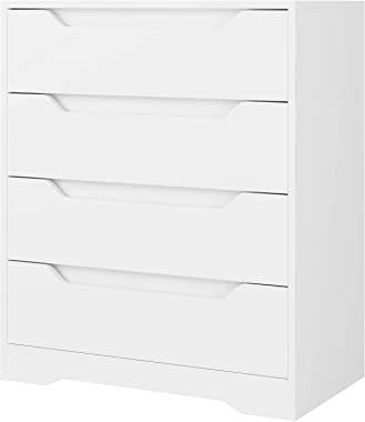 Modern 4 Drawer Dresser, Wood Chest of Drawers with Storage, Clothing Organizer with Cut-Out Handle, Storage Cabinet, Nightst