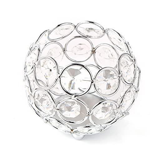 Candelita de Cristal Candelabro en Forma de Linterna Vela Metal Portavelas de...