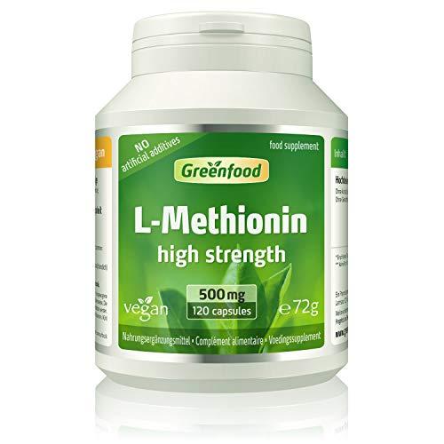 GF L-Methionin, 500 mg, hochdosiert, 120 Kapseln, vegan – wichtige und essentielle Aminosäure. Baustoff für Proteine. OHNE künstliche Zusätze, ohne Gentechnik.