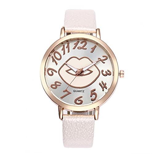 Reloj de Brazalete de Cuarzo analógico del Reloj de la Placa de la Placa de la Placa del Modelo de Las Mujeres con la batería de la Brazalete de Cuero serpentino Batería de Pulsera Blanco