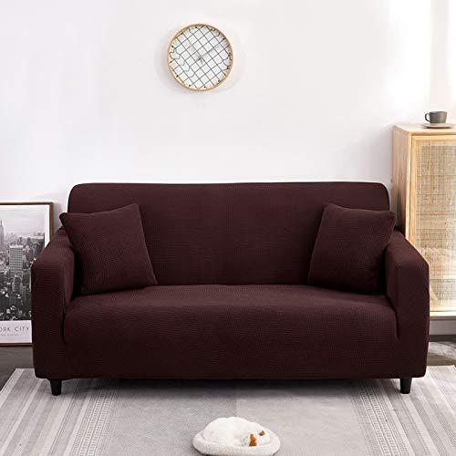 SAFAJINHH Elástica Funda Cubre Sofá,2-Pieza Funda De Sofá Couch Muebles Protector Fondo Elástico Niños,Spandex Jacquard Tela Cheques Pequeños-Café L-Shape 3+3 Seats(75''-91''+ 75''-91'')