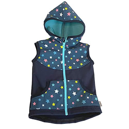 Lilakind Chaleco para bebé (tejido softshell), diseño de estrellas, color azul y turquesa, talla 86/92-134/140, fabricado en Alemania azul/turquesa 110 cm-116 cm