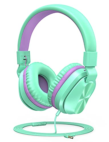Nesan Fire Kids Headphones with Microphone, 85/94dB Volume Limited for Kids Girls Boys, Foldable On-Ear Headphones 3.5mm Jack Stereo Wired Headphones for Cellphones/PC/Kindle/School/Travel Mint