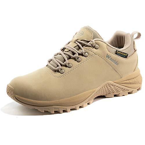 Wantdo Women's Waterproof Tennis Shoes Hydroguard Hiking Shoe Light Khaki 9 M US