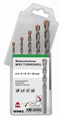 KEIL Schlagbohrersortiment Betonbohrer TURBOKEIL, 5-teilig, Ø 4,0 / 5,0 / 6,0 / 8,0 / 10,0 mm, in MultiPack, 258 350 410
