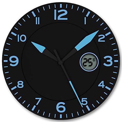 FISHTEC Orologio da Parete Design Moderno - Pendolo murale con Temperatura Digitale - Adatto per Cucina, Ufficio, Salotto, Camera - 25 CM - Nero e Blu