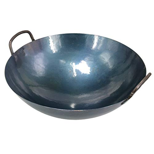"""Lightweight Cast Iron Wok Chinese Traditional Hand Hammered Stir Fry Pans with Two Handles Nonstick No Coating Less Oil 156"""" /40cm"""