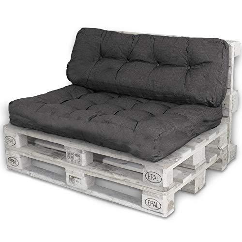 Bobo Palettenkissen Palettenauflagen Sitzkissen Rückenlehne Kissen Palette Polster Sofa Couch (Set Sitzfläche + Rückenteil, Schwarz)