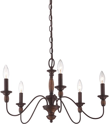 "Quoizel HK5005TC Holbrook Chandelier, 5-Light, 300 Watts, Tuscan Brown (14"" H x 24"" W)"