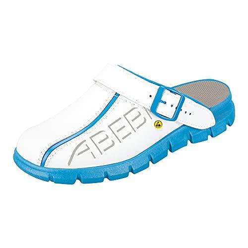 ABEBA 37312 ESD Arbeitsschuhe Dynamic Clogs weiß blau mit ESD-Kennzeichnung in Größe 40