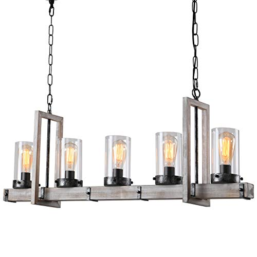 Farmhouse Chandelier, Pendant Lighting for Kitchen Island, Wood Kitchen Light Fixtures with Clear Glass Shade, 5-Lights Vintage Rustic Chandelier for Dining Room & Living Room