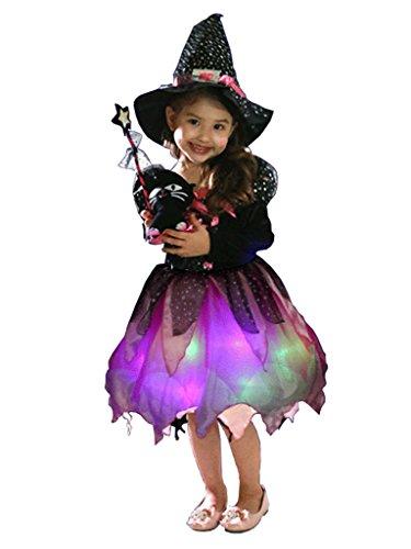 Wantschun Mädchen Kinder Karneval Fasching Kostüm Set Led leucht Hexe Kleid + Hut + Beutel + Zauberstab (Etikettengröße 100)