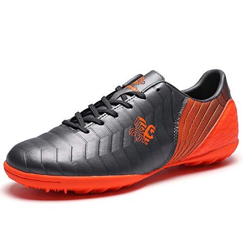 Saekeke  Fussballschuhe Kinder FG/TF Fußballschuhe Jungen Low Top Trainingsschuhe Für Unisex-Kinder, Grau Orange Tf ,  39 EU