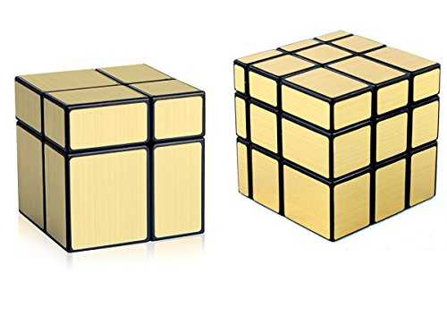 D-FantiX Shengshou Mirror Cube Set, 2x2 3x3 Mirror Blocks 2x2x2 3x3x3 Speed Cube Bundle Magic Cube Puzzle Toys Golden