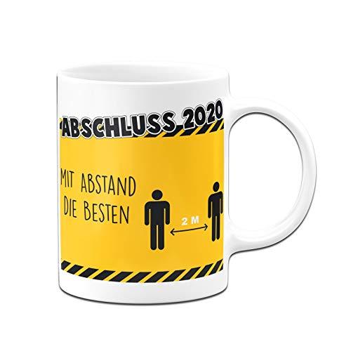 Tassenbrennerei Tasse Abschluss 2020 Mit Abstand Schulabschluss - Spülmaschinenfest - Kaffeetasse lustig (Weiß)