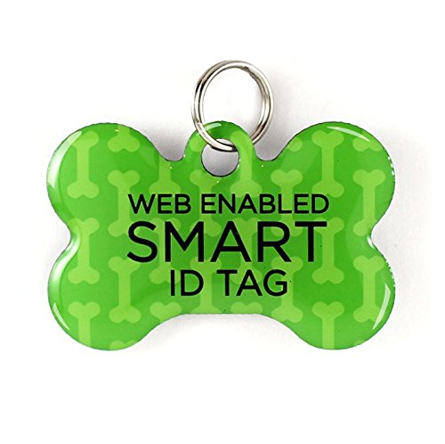 Dynotag Web Enabled Super Pet ID Smart Tag with DynoIQ & Lifetime Recovery Service. Play Series: Bone (Green Classic)