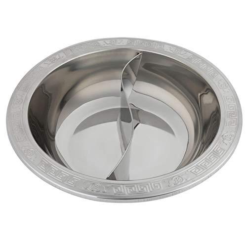 Geteilter heißer Topf, extra dicker geteilter heißer Topf aus rostfreiem Stahl für Induktionsherd Kochtopf Chinesisches Fondue