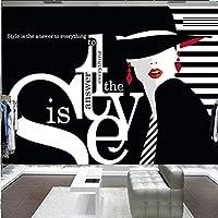 モダンファッション壁紙3D英語文字落書き写真壁壁画衣料品店黒背景壁の装飾-200Cmx140Cm