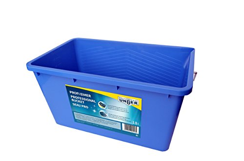 Unger Profi Eimer (Wascheimer; Fensterreinigung, Rechteckig; Einwascher bis 35 cm; sehr formstabil; Blau, 18 L) 945430