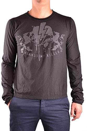 Luxury Fashion   Against My Killer Heren MCBI10148 Zwart Katoen T-shirts   Seizoen Outlet