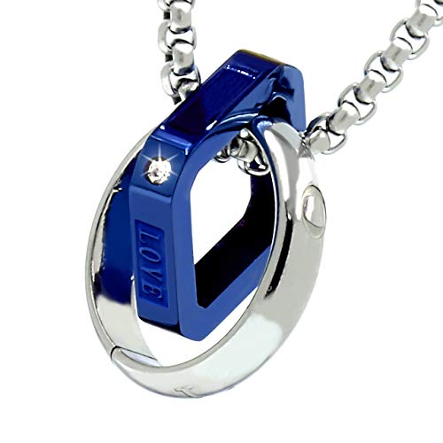 Napist (ナピスト) ネックレス メンズ リングスクエア [ 316Lサージカルステンレス / 甲丸ベネチアンチェーン ] ブルー ペンダント ギフトボックス付き NPN013KOBL